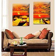 Stretched Canvas Art The Sunset On The Shore Of The Boat Landscape  Set of 2