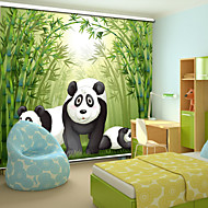 Lovely Cartoon Style Panda Family With Bamboo Roller Shade