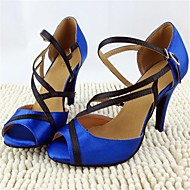 Non Customizable Women's Dance Shoes Latin Satin Stiletto Heel Blue