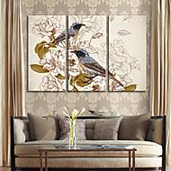 strukket lerret kunst retro dekorative male blomster og fugler sett med 3