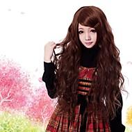 Zipper Sexy Girl Brown 80cm Wave Punk Lolita Wig