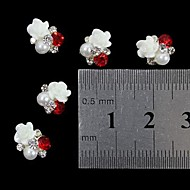 10pcs   3D  Rose Flower Pearl Rhinestone DIY Accessories Nail Art Decoration