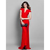 Formal Evening Dress - Plus Size / Petite Trumpet/Mermaid V-neck Sweep/Brush Train Jersey