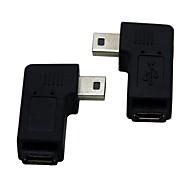 1 db jobb / bal Könyök 90 fokos mini USB dugó a micro usb női hosszabbító adapter conventer kábellel csatlakozó