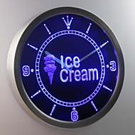 nc0276 Ice Cream Shop Neon Sign LED Wall Clock