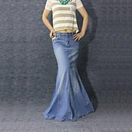 Women's Vintage Casual Mermaid Jeans Long Skirt