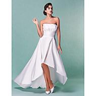 Lanting A-line/Princess Plus Sizes Wedding Dress - Ivory Asymmetrical Strapless Taffeta