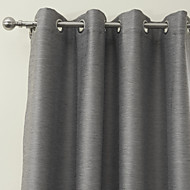 Blackout Solid Grey Modern Curtain (Two Panels)