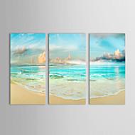 oljemålningar set om 3 liggande havslandansluten och blå himmel handmålade duk redo att hänga