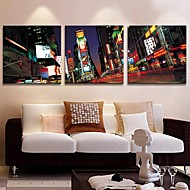 Stretched Canvas Art City At Night  Set of 3