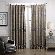 European Two Panels Geometric Grey Living Room Linen/Blend Sheer Curtains Shades