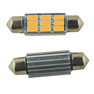 LED Carking ™ Festoon 39 milímetros-5630-9SMD Car Roma Lâmpada Warm White Light (12V/2PCS)