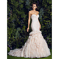 Lanting Bride Fit & Flare Wedding Dress-Court Train Sweetheart Tulle