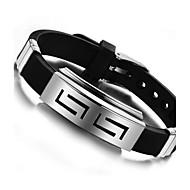 בגדי ריקוד גברים צמידי זיהוי סיליקון פלדת טיטניום עיצוב מיוחד אופנתי תכשיטים שחור תכשיטים 1pc