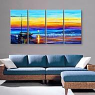 Canvastaulu art kaunis satama maisemamaalauksen setti 4