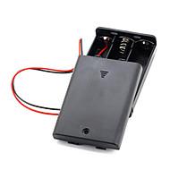 3db AA elem akkumulátor (4.5V) csipesz tartó doboz tok fekete