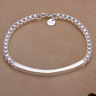 Fashion Style Geometric Silver Plated Copper Bracelets For Mens(Silver)(1Pc)