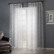Country Two Panels Leaf White Bedroom Sheer Curtains Shades