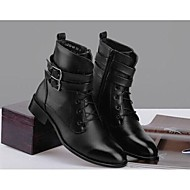 Men's Spring Summer Fall Winter Fashion Boots Leather Fur Casual Low Heel Lace-up Black
