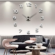 "39""W DIY 3D Mirror Numbers Acrylic Sticker Wall Clock"