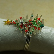 MINI colorfull vánoční strom prsten ubrousku mnoho barev, akryl, 4,5 cm, sada 12