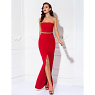 Prom / Formal Evening / Military Ball Dress - Plus Size / Petite Sheath/Column Strapless Floor-length Jersey
