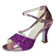 Non Customizable Women's Dance Shoes Latin Leatherette/Paillette Stiletto Heel Green/Purple