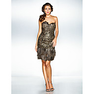 TS Couture Cocktail Party / Holiday / Prom Dress - Brown Plus Sizes / Petite A-line / Princess Sweetheart Knee-length Sequined