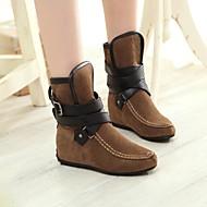 נעלי נשים - מגפיים - דמוי סוויד - פלטפורמות / מעוגל / מגפי אופנה - שחור / אדום / בז' - שמלה - עקב וודג'