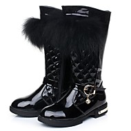 Girls' Shoes Comfort Boots Flat Heel Leather Knee High Boots with Zipper More Colors available