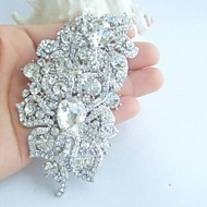 Women's Trendy Alloy Silver-tone Rhinestone Crystal Flower Wedding Bridal Brooch