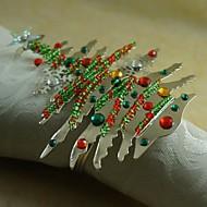 צבעים צבעוני טבעת מפית עץ חג המולד רבים, אקריליק, 4.5cm, קבוצה של 12