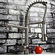 Contemporary Nickel Brushed Finish  Single Handle Pull-out Kitchen Faucet