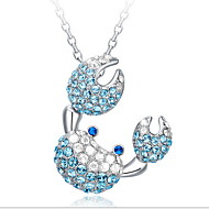 Women's Silver Necklace With Bule Crab Rhinestone