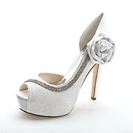 Women's Spring / Summer / Fall / Winter Heels / Peep Toe / Platform Satin Wedding / Party & Evening Stiletto Heel Crystal / Satin Flower