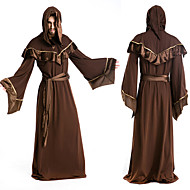 Aloof Wizard Brown Long Gown Men's Halloween Costumefor Carnival