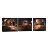 Trasferimenti su tela Art Still Life Wine and Barrel Set di 3