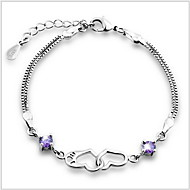 Women's Silver Chain With Crystal Bracelet