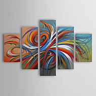Oil Paintings Set of 5 Modern Abstract Colorful Circles Hand-painted Canvas Ready to Hang