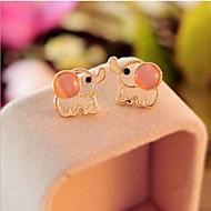 Women's Color Opal Elephant Earrings