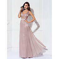 TS Couture® Formal Evening / Military Ball Dress - Pearl Pink Plus Sizes / Petite Sheath/Column V-neck Floor-length Lace / Tulle / Charmeuse