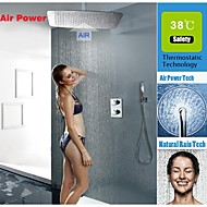 Thermostatic Bathroom Shower Faucet Set, UFO Modelling Ultra-thin Water Saving Air Injection Rainfall Shower Head
