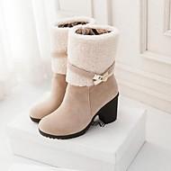 VROUWEN - Half-kuitlaarzen - Fashion Boots/Ronde Teen - Laarzen ( Zwart/Bruin/Yellow/Beige ) - met Chunky Heel - en Imitatiesuède