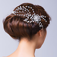 Silver Plated Alloy Floral Veins with Zirconia Wedding Headpiece