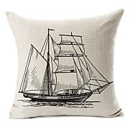 segelbåt mönster bomull / linne dekorativa örngott