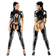 Hot Tight  Dew Chest Leotard Black PU Leather Sexy Uniforms