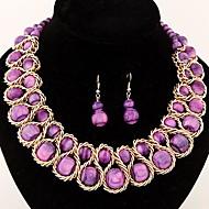 europäischen Stil Mode candy farbigen Perlen Metallgewebe Übertreibung Temperament Halskettenohrringe (weitere Farben)