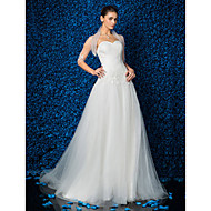 A-line/Princess Wedding Dress - Ivory Sweep/Brush Train Sweetheart Tulle