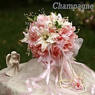 Elegant Round Shape  Rose Lily Bud Bridal Wedding Bouquet(More Colors)