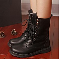 Women's Spring / Fall / Winter Combat Boots / Round Toe Leatherette Casual Chunky Heel Lace-up Black